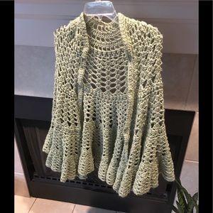 Jackets & Blazers - Beautiful Crochet shawl in light army green!